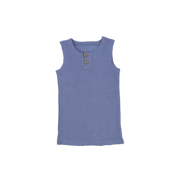 Lil Legs Ribbed Tank - Deep Blue