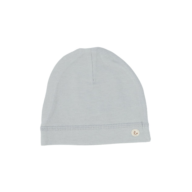 Lillette Brushed Cotton Wrapover Beanie - Dusty Blue