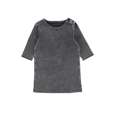 Lil Legs Three Quarter Sleeve Ribbed T-Shirt - Grey Wash