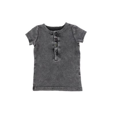 Lil Legs Short Sleeve Ribbed Center Button T-Shirt - Grey Wash