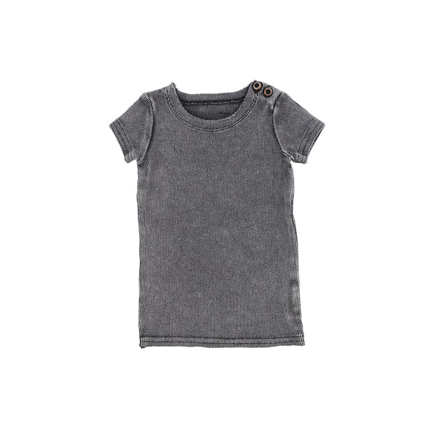 Lil Legs Short Sleeve Ribbed T-Shirt - Grey Wash