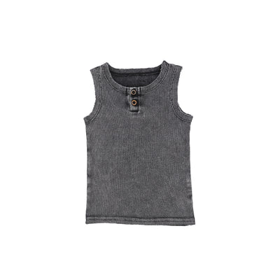 Lil Legs Ribbed Tank - Grey Wash