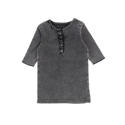 Lil Legs Three Quarter Ribbed Center Button T-Shirt - Grey Wash