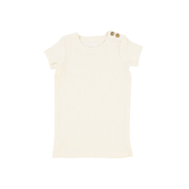 Lil Legs Short Sleeve Ribbed T-Shirt - Ivory