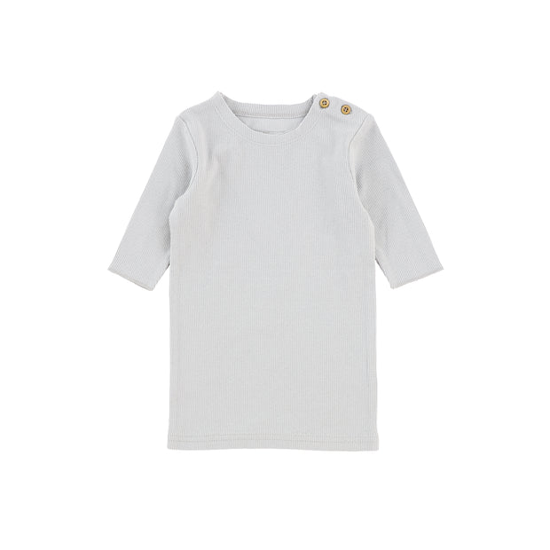 Lil Legs Three Quarter Sleeve Ribbed T-Shirt - Light Grey