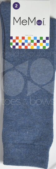 Memoi Basic Solid Knee Socks Medium Denim MK-5056