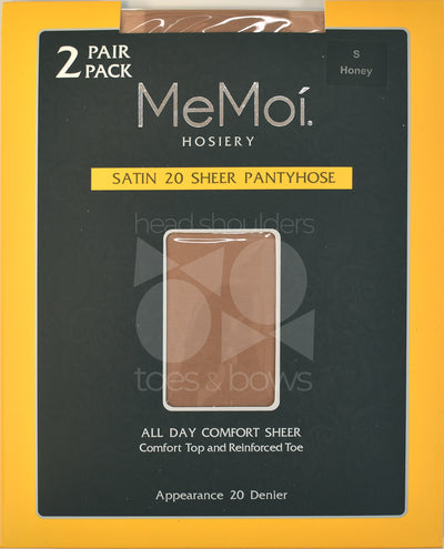 Memoi Satin Sheer 20 Denier Stockings 2-Pack MS-650