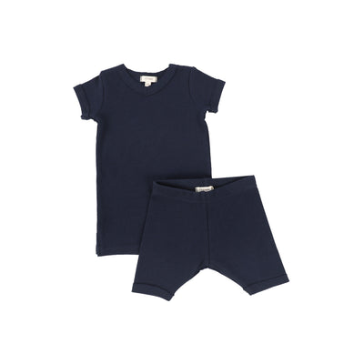 Lil Legs Short Sleeve Ribbed Sets - Navy