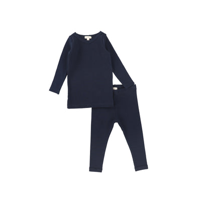Lil Legs Long Sleeve Ribbed Sets - Navy