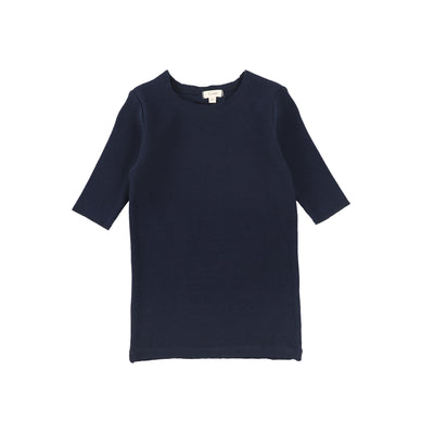 Lil Legs Ribbed Three Quarter Sleeve Tee - Navy