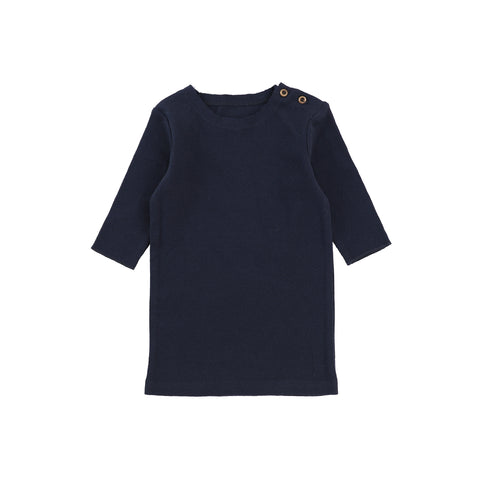 Lil Legs Three Quarter Sleeve Ribbed T-Shirt - Navy