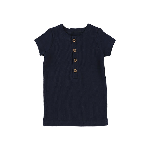 Lil Legs Short Sleeve Ribbed Center Button T-Shirt - Navy