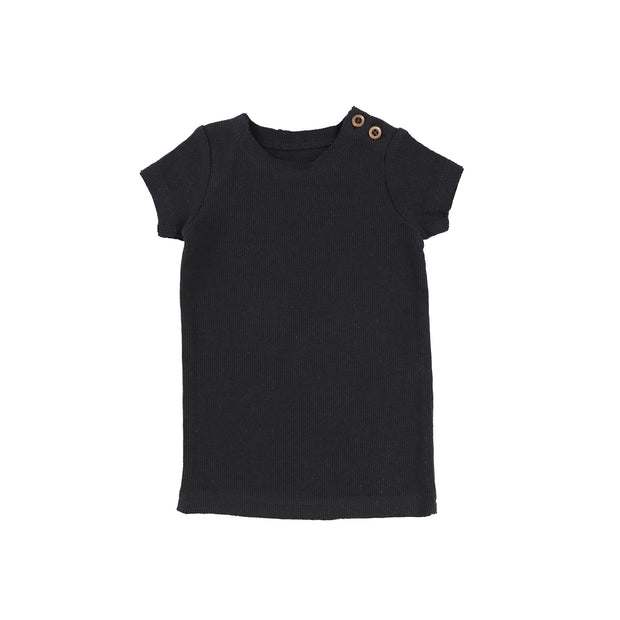 Lil Legs Short Sleeve Ribbed T-Shirt - Navy