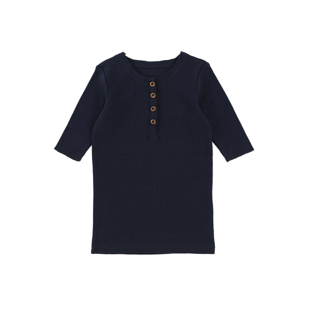 Lil Legs Three Quarter Ribbed Center Button T-Shirt - Navy