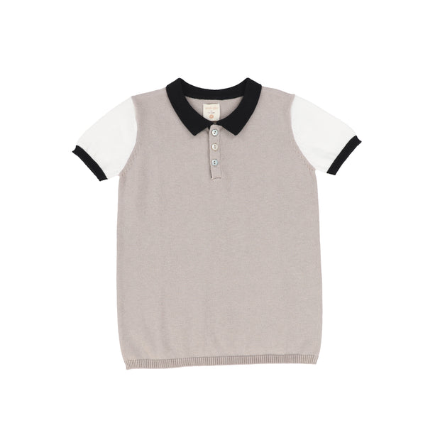 Analogie Knit Polo - Taupe Colorblock