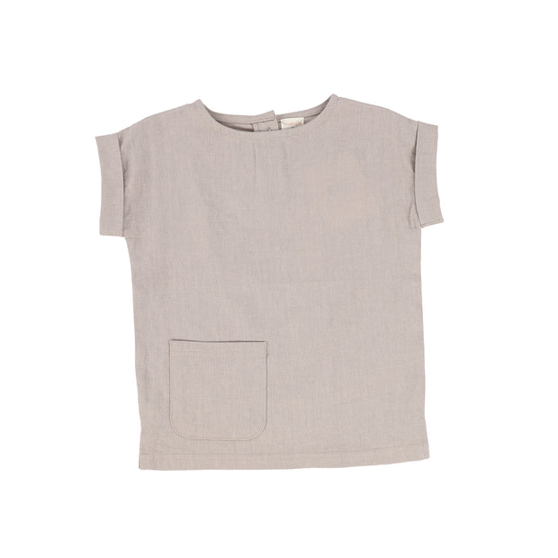 Analogie Boys Linen Pocket Shirt - Taupe