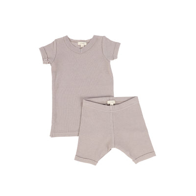 Lil Legs Short Sleeve Ribbed Sets - Taupe