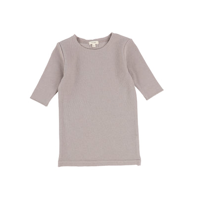 Lil Legs Ribbed Three Quarter Sleeve Tee - Taupe