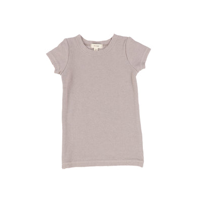 Lil Legs Ribbed Short Sleeve Tee - Taupe