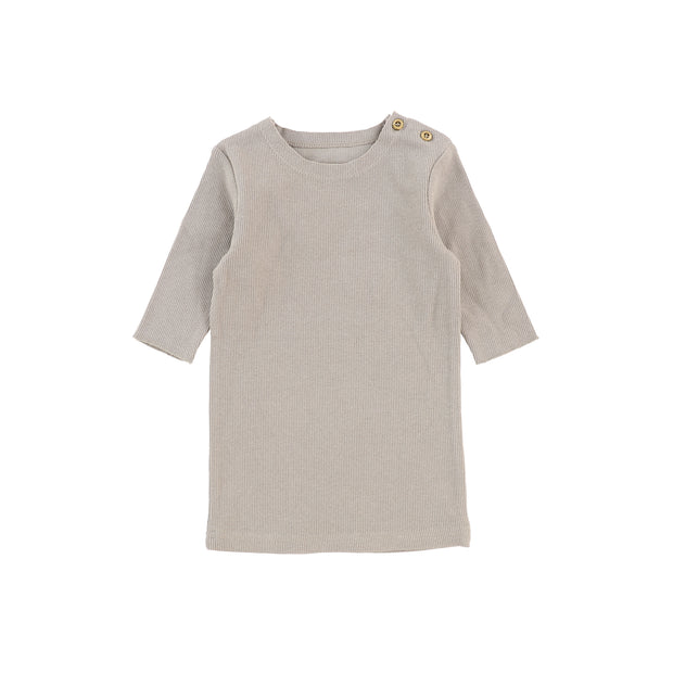 Lil Legs Three Quarter Sleeve Ribbed T-Shirt - Taupe