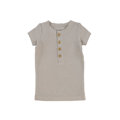 Lil Legs Short Sleeve Ribbed Center Button T-Shirt - Taupe