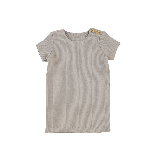 Lil Legs Short Sleeve Ribbed T-Shirt - Taupe