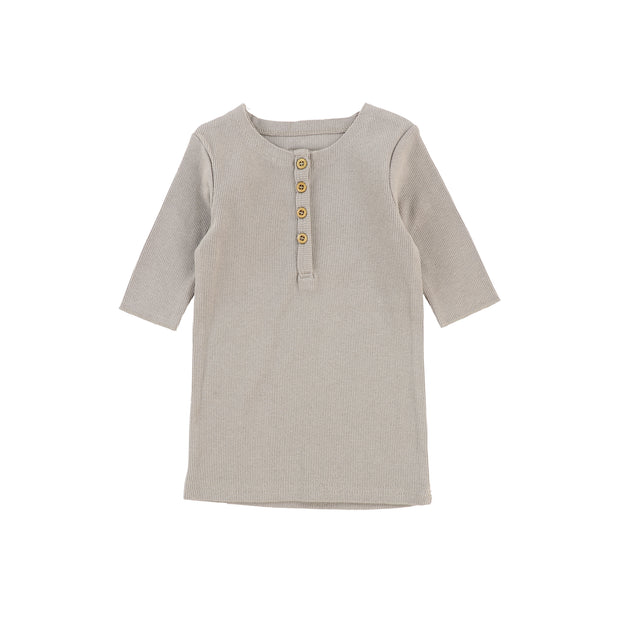 Lil Legs Three Quarter Ribbed Center Button T-Shirt - Taupe