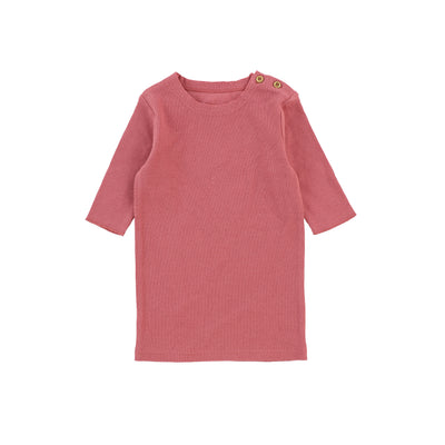Lil Legs Three Quarter Sleeve Ribbed T-Shirt - Watermelon Pink