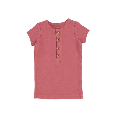 Lil Legs Short Sleeve Ribbed Center Button T-Shirt - Watermelon Pink