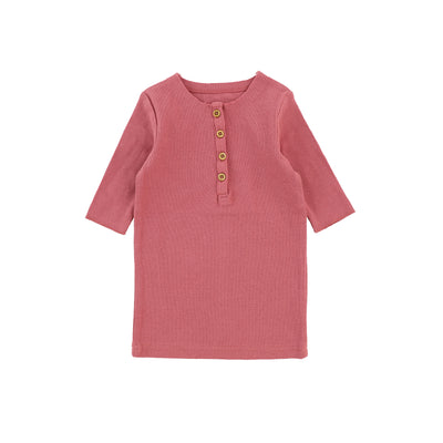 Lil Legs Three Quarter Ribbed Center Button T-Shirt - Watermelon Pink