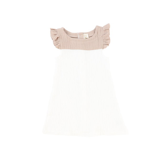 Analogie Flutter Dress - White/Taupe