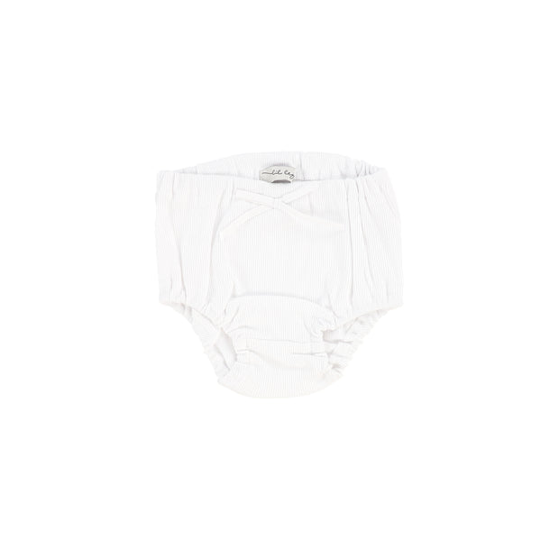 Lil Legs Rib Bloomers - Pure White
