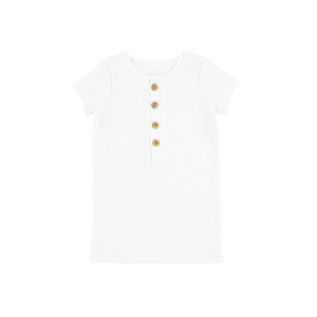 Lil Legs Short Sleeve Ribbed Center Button T-Shirt - Pure White