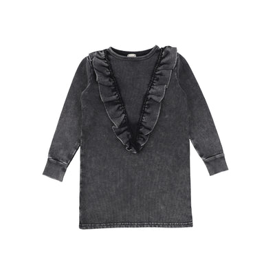 Analogie Denim Ruffle Dress - Black Wash AW20