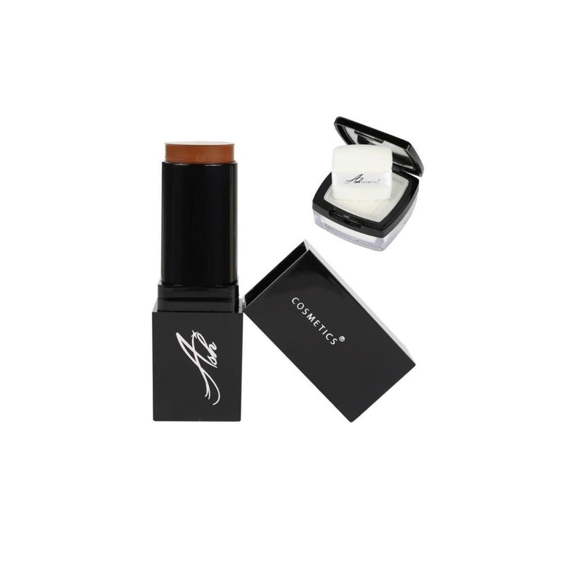 AshcosmeticsSeamless HD Foundation Stick Shade Plus Pixel Perfect Setting Powder Set - Dark