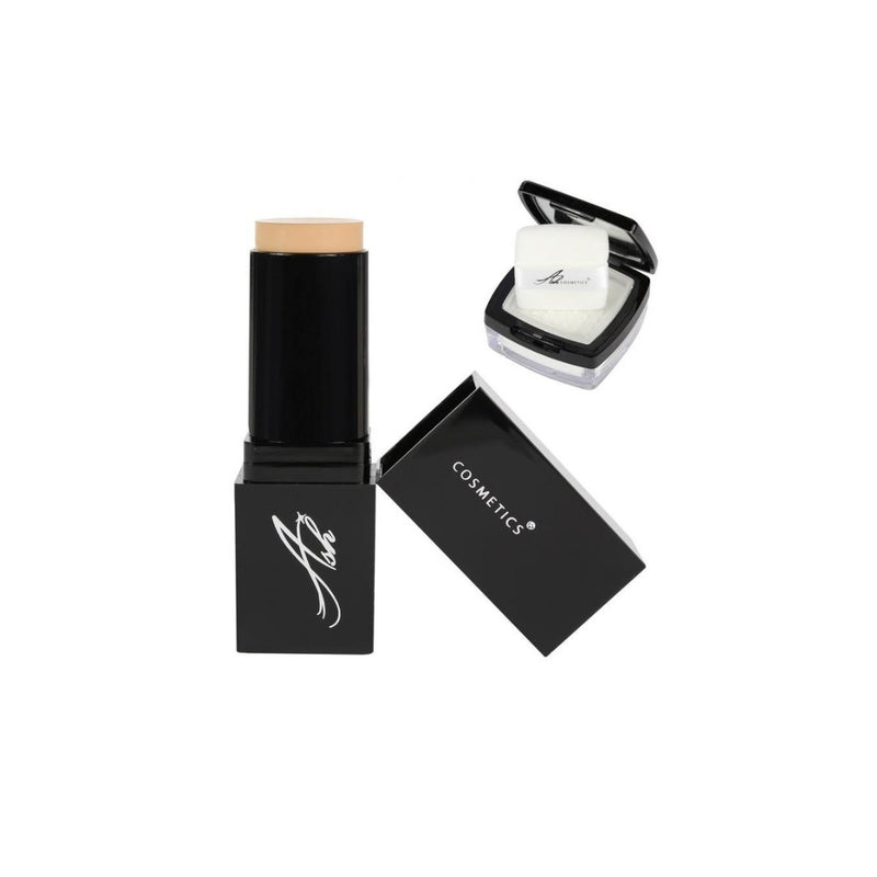 AshcosmeticsSeamless HD Foundation Stick Shade Plus Pixel Perfect Setting Powder Set - Fair