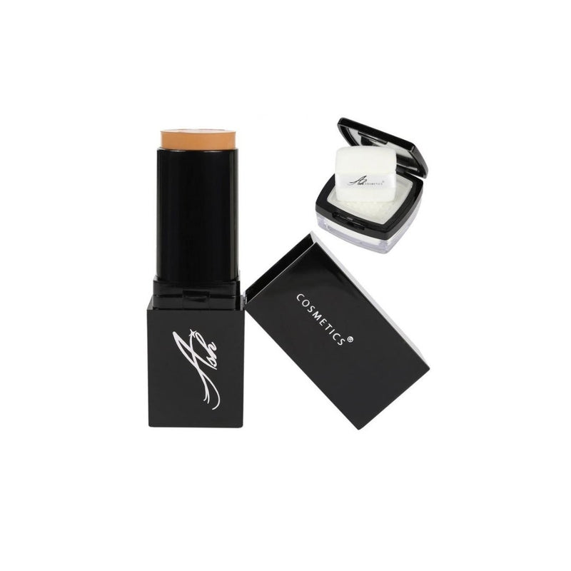 AshcosmeticsSeamless HD Foundation Stick Shade Plus Pixel Perfect Setting Powder Set - Tan (Old Name - Orange)