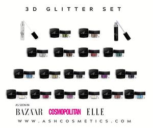 AshcosmeticsGlitter Eyeshadow Set offer with Both Adhesives