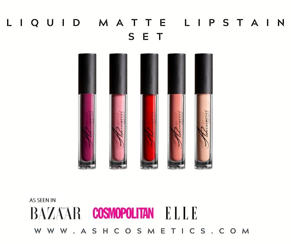 AshcosmeticsLiquid Matte Lipstains Gift Set Comes With 5 Powerful Lipstain Shades