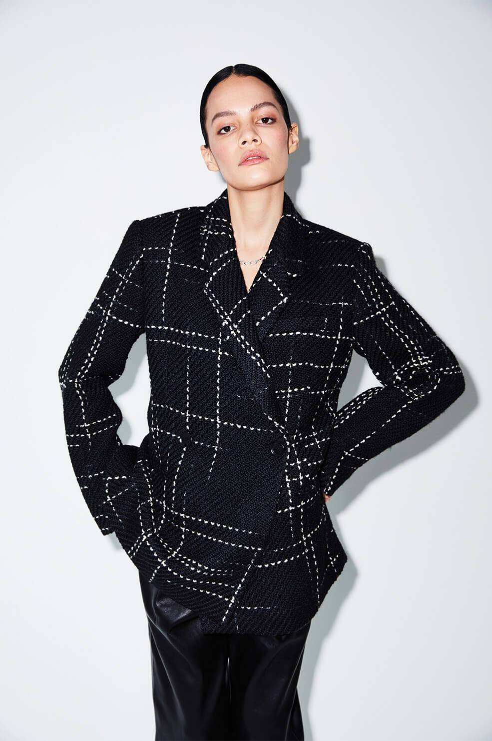 Kaia Blazer Black Plaid fra Anine Bing