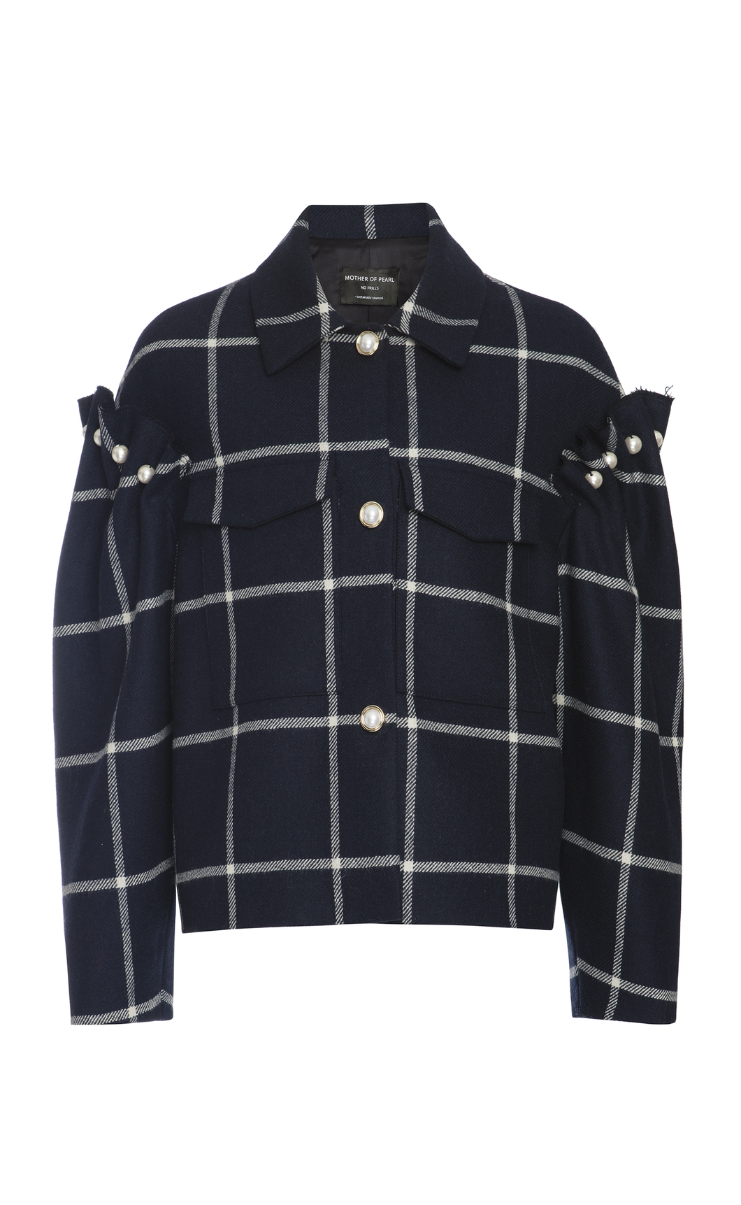 Bennett Jacket Navy- Mother of Pearl