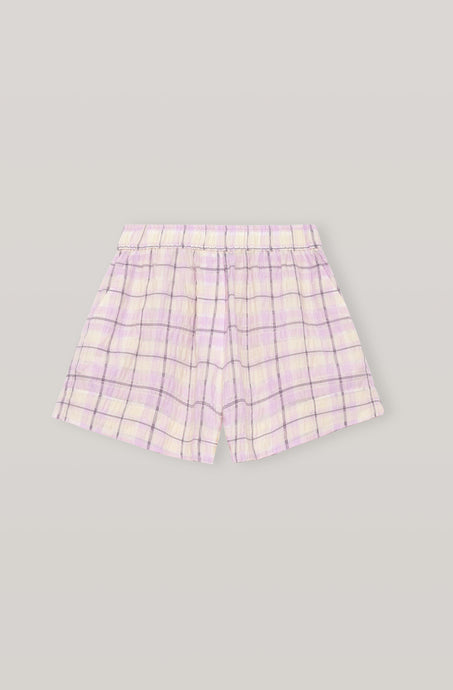 Ganni Seersucker Check Shorts Lilla