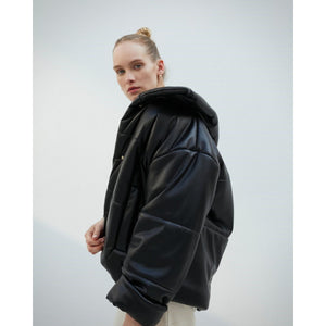 Hide Puffer Vegan Leather Coat Nanushka