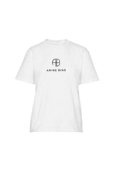 Monogram t-shirt Optic White fra Anine Bing
