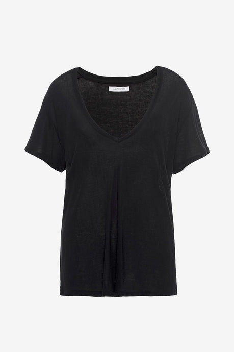 Deep V-neck T-shirt Black fra Anine Bing