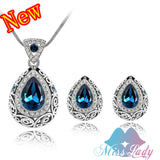 Vintage Water Drop Crystal Necklace and Earrings