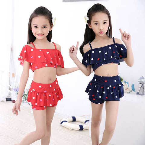 Children Two Pieces Skirted Swimsuit
