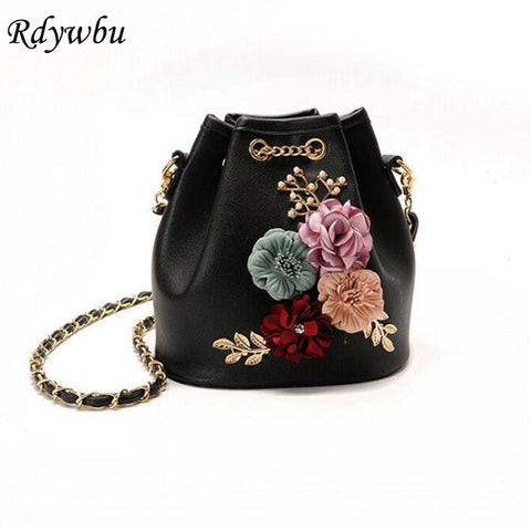 Handmade Flower Bucket Bag with Chain Drawstring