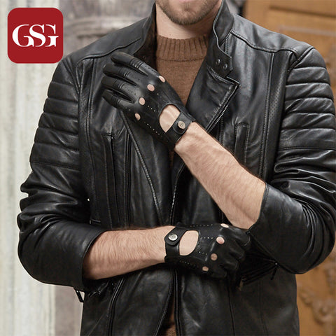 Leather Hole Button Breathable Driving Gloves