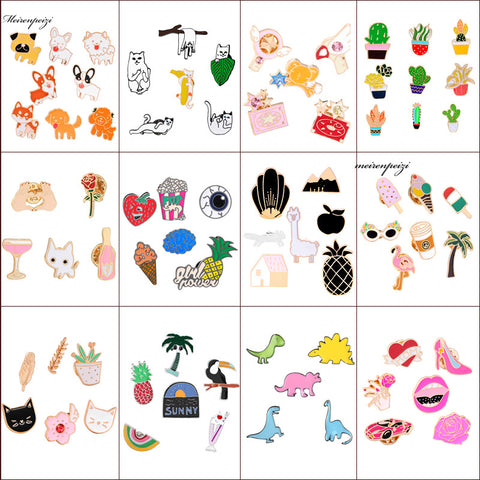 Enamel Pin Colorful Cartoon Set